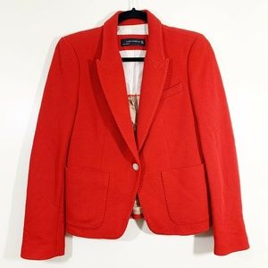 Zara Red Cotton Lined Single Gold Button Blazer M